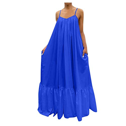 Buy Bargain Strappy Summer Dresses for Women - Solid Color Big Swing Dress Loose Long Baggy Dress Sl...
