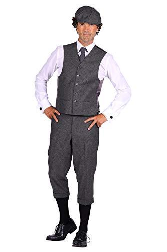 shoperama 20er Jahre Peaky Blinders Anzug Knickerbocker Herren-Kostüm GRAU Hose Weste Schiebermütze, Größe:52