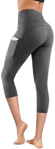 Lingswallow High Waist Yoga Pants - Yoga Pants with Pockets Tummy Control, 4 Ways Stretch Workout Running Yoga Leggings (Capris Grey, XX-Large)