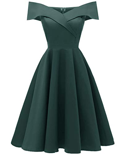 Viloree 50s Rockabilly Damen Kleid Baumwolle Schulterfrei Swing Party festlich Dunkelgrün XL