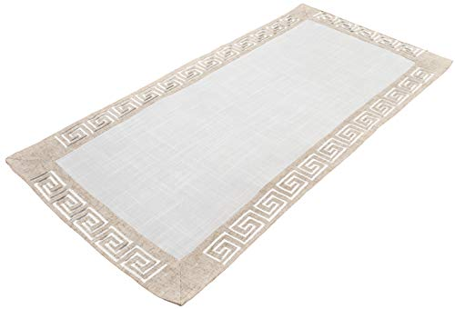 Table Runner Dresser Scarf Coffee Table Runner Neutral Earth Tones Greek Key 16 x 36 Inch