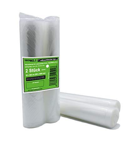 Kochfeste goffrierte Vakuumbeutel 2 Rollen 25 x 600 cm VacuNo.1 - Sous Vide geeignete Beutel verschiedene Größen