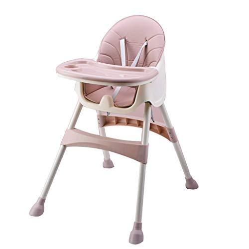 YShop Chaise Haute for bébé et Tout-Petits, Chaise Haute Pliable & Rehausseur avec Repose-Pieds et Hauteur du siège, Plateau Amovible, Coussin en Cuir PU ( Color : Brown )
