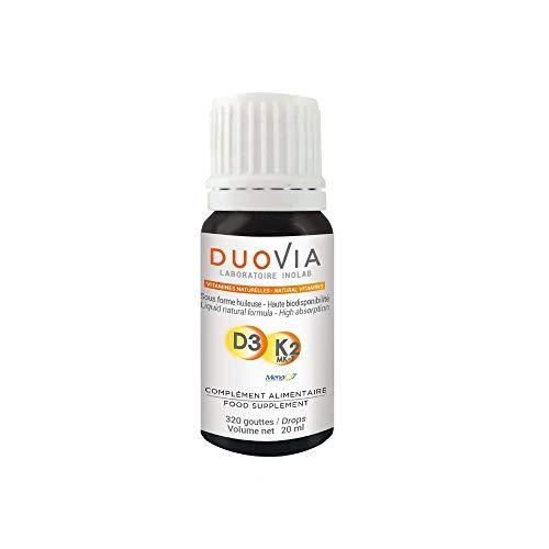 Vitamina D3 K2 MK7 (All-Trans) Natural | Aceite de oliva Bio | 20 ml, 3 gotas = 1600 UI vitamina D 50 μg Vitamina K | Sin Aditivos