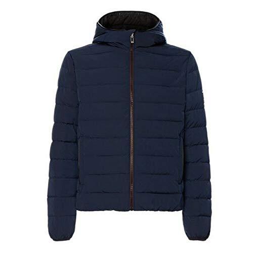 Calvin Klein Chaqueta con capucha para hombre con impresión logotipo grande en la parte trasera, color azul turquesa L