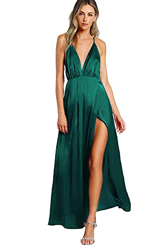 SheIn Women s Sexy Satin Deep V Neck Backless Maxi Club Party Evening Dress Dark Green Small