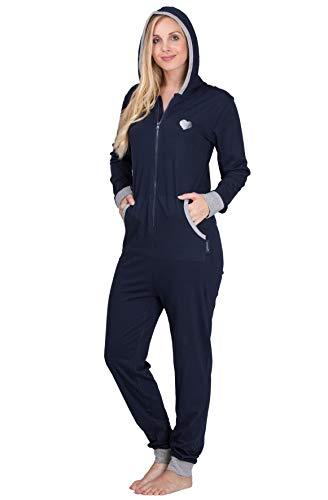 maluuna – Damen Jumpsuit, Onesie, Overall, Einteiler mit Bündchen an Arm- und Beinabschluss aus 100% Baumwolle Farbe:Navy/grau-Melange - 4