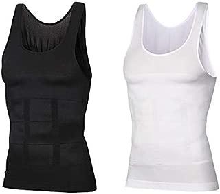 Lazar Fitness Men's Body Shaper Slimming Slim Body Compression Vest Shirt Belly Tummy Trimmer