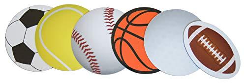 Novel Merk Basketball, Baseball, Golf, Football, Soccer, & Tennis Sports Ball Coach Gift or Teacher Sports Party Decorations Small Refrigerator Magnet Set Miniature Design (6 Pieces)