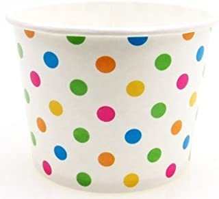 6 oz Paper Hot/Cold Ice Cream Cups - 100ct (Polka Dot)