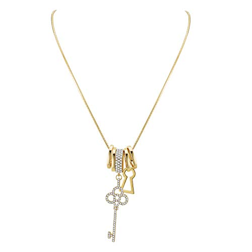 Lavencious Multi Charm Key with Diamond Rings Dangle Pendant Long Necklace Chain for Women Wedding Party 36' (Gold)