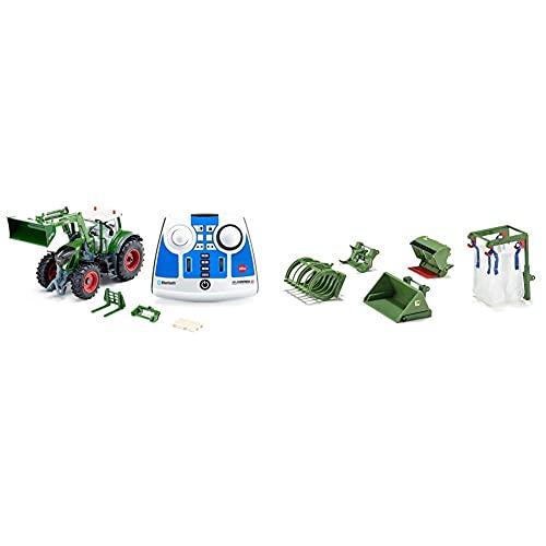 siku 6796, Fendt 933 Vario Traktor mit Frontlader, Grün, Metall/Kunststoff, 1:32 & 5-teiliges Frontlader Zubehör-Set, 1:32, Passend für alle siku Traktoren mit Frontlader im Maßstab 1:32