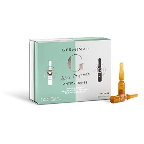 Germinal - Sérum Facial con Efecto Antioxidante, Antiedad y Antimanchas, con Vitamina C, Vitamina E y Vitamina B12 - Acción Profunda - 7 Ampollas de Noche y 7 Ampollas de Día x 1ml