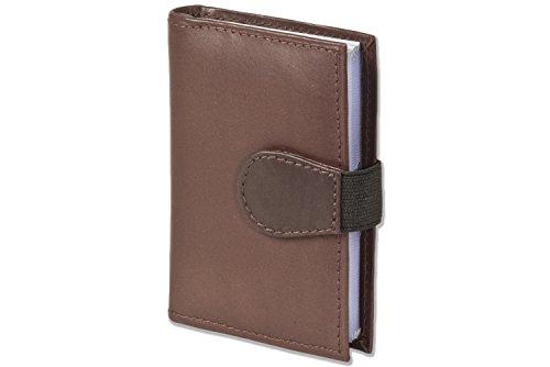 Rimbaldi' 'XXL becerro de cuero titular de la tarjeta de crédito con 22 compartimentos de tarjetas hechas de piel de becerro suave, no tratado, de color marrón oscuro