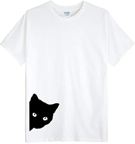 (ゴジラ千) GODZILLASENN メンズtシャツ ネコここにいるんだん 柄プリントTシャツ クルーネック 半袖メンズトップス ホワイト M
