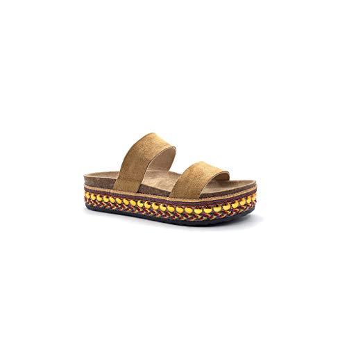 Angkorly - Zapatillas Moda Sandalias Mules Abierto Suela Grande comode Mujer Correas Perla con Paja tacón Plano 4.5 CM