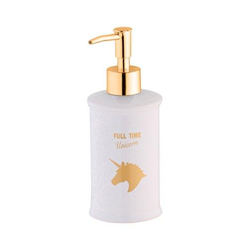 axentia Seifenspender Einhorn weiß/gold, leicht nachfüllbarer Flüssigseifen-Spender aus Keramik mit verchromter Dosierpumpe, Seifenbehälter mit ca. 300 ml Fassungsvermögen