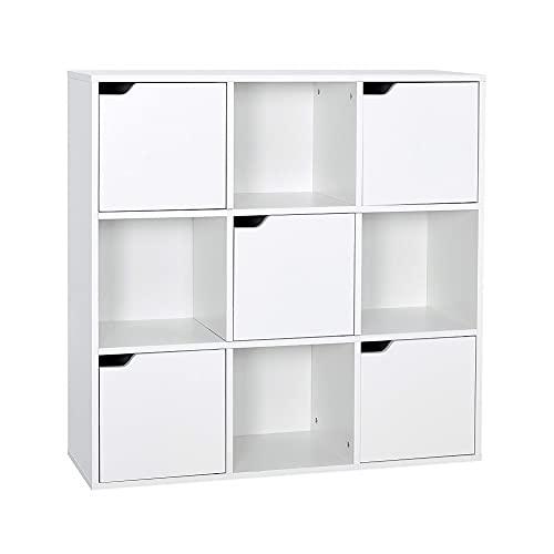 Meerveil Bücherschrank, Bücherregal, Aufbewahrungsregal, 9 Fächer mit 5 Türen, moderner Stil, Geeignet für Büro, Arbeitszimmer, Wohnzimmer, Korridor und andere Räume, weiß