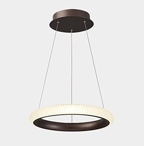 LONSTAII Lámpara Comedor Colgante Anillo LED Colgante de luz Moderno Diseño Candelabro Regulable con Control Remoto para Isla de Cocina Mesa de Comedor Sala de Estar Loft Oficina,Negro,Ø40CM