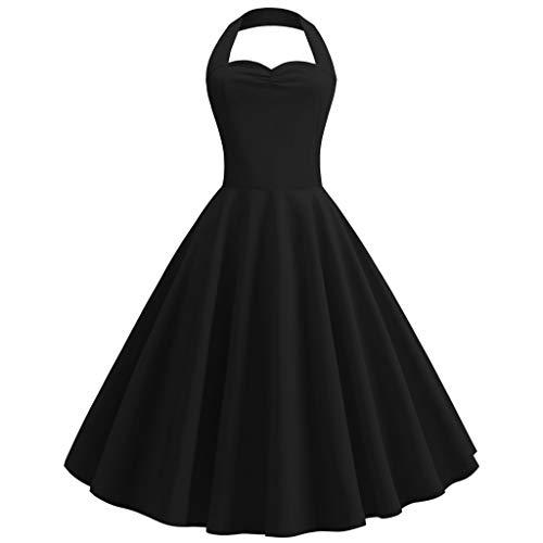 URIBAKY Damen Vintage Einfarbig Halfter Kleid Retro Rockabilly Cocktailkleid