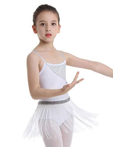 Freebily Vestido de Baile Niña Disfraz Vestido Latina Lentejuelas y Borlas Traje de la Danza de Samba Rumba Tango Baile Concurso (4-12 Años) Blanco 4 Años