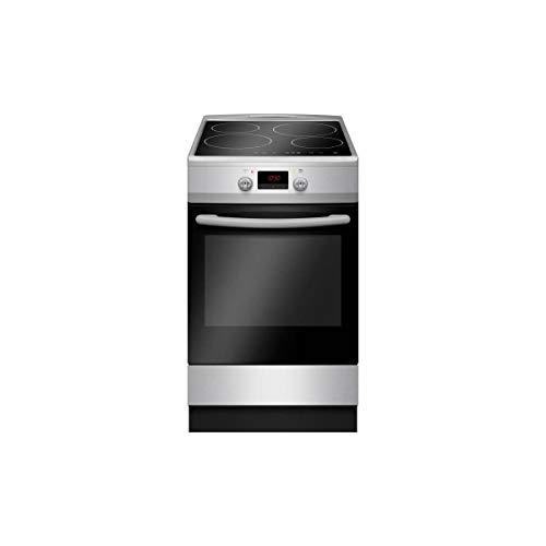 Cuisiniere induction 50 x60 4 zones 4 boosters commandes sensitives 6400W four électrique multifonctions 65L Classe A silver
