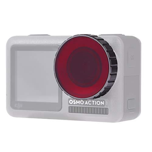 CameraParts BZN Buceo Filtro de la Lente de Color for dji Osmo Acción (Rojo) (Color : Red)