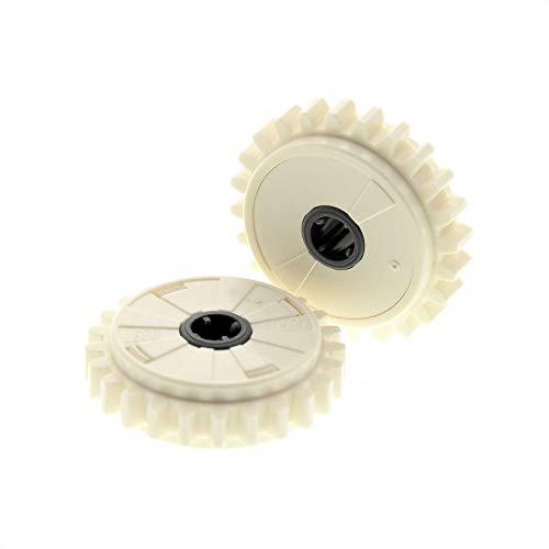 Bausteine gebraucht 2 x Lego Technic Zahnrad 24 Zähne Creme Weiss Rutschkupplung Technik ( ohne 2.5 5.0 NcM ) für Set 9397 75098 9747 42055 4270486 76244c01 60c01