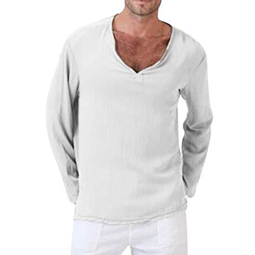 Herren Langarmshirt Baumwolle Leinen Longsleeve V-Ausschnitt Slim Fit T-Shirt Oberteile Fitness Shirt Basic Casual Pullover Sweatshirt Herbst Winter Bekleidung von Innerternet