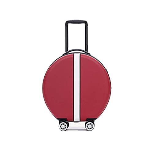 JIAWYJ Maleta portátil/Caja de la Carretilla Redonda Equipaje Mini Light Viajes Caja de Cuero Passing Boarding 18 Inch Código Portátil/Commodity: LWH-98 (Color : Red)