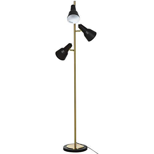 HOMCOM Stehlampe mit 3 Leuchten, Stehleuchte mit Verstellbaren Schirmen, Standleuchte E27, Metall, Bronze, 32 x 32 x 150cm