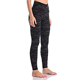 Colorfulkoala Women's High Waisted Pattern Leggings Full-Length Yoga Pants (S, Deep Grey Camo)