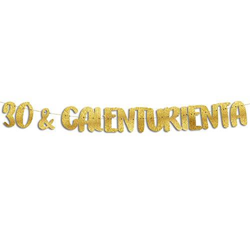 Sterling James Co. Letras Decorativas Cumpleaños 30 y Calenturienta Doradas con Purpurina – Cartel Decoración Fiesta de Cumpleaños Reutilizable – Guirnalda Photocall
