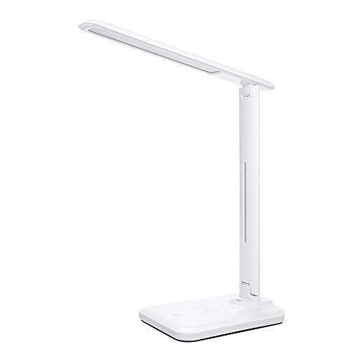 Bedler - Lámpara de escritorio con carga inalámbrica con puerto de carga USB, luz nocturna táctil, control de 3 modos de iluminación, mesita de noche para la oficina o el dormitorio