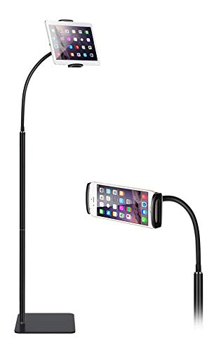 Almiao Floor Tablet Stand, Height Adjustable Cell Phone Stand for Bed, 360° Rotatable Tablet Holder, iPad Tripod Mount with Gooseneck and Sturdy Base Compatible with iPad, Kindle, 3-10.6Inch (Black)