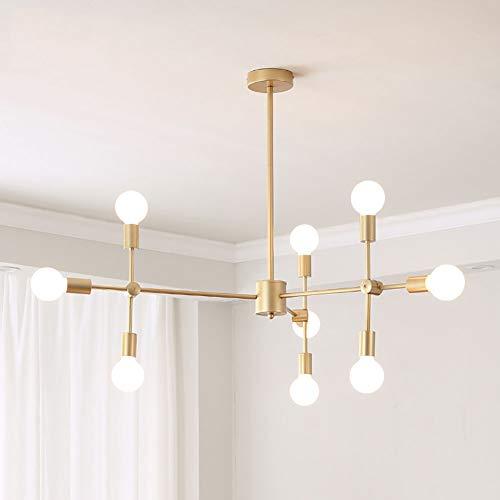 9-lichter Sputnik Kronleuchter Modernen Gebürstetes Messing Pendelleuchte Einstellbar LED E27 Deckenleuchte Hängende Beleuchtungsleuchte Für Kücheninsel Wohnzimmer A 9 Flammig