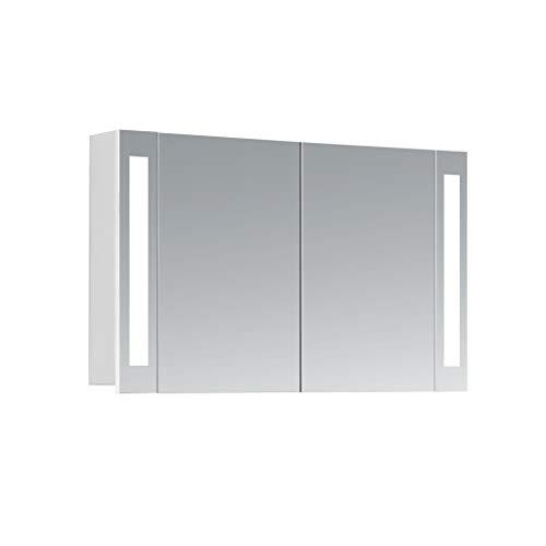 HAPA Design Spiegelschrank Venedig weiß mit LED Beleuchtung 12W 4000K, VDE Steckdose, Softclose Funktion und verstellbaren Glas Ablagen. Komplett vormontiert. SGS geprüft. (100 x 60 x 14 cm)