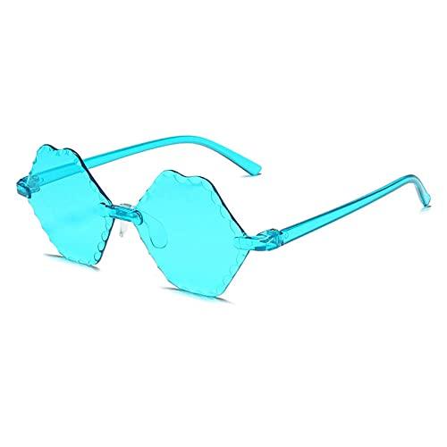 WQZYY&ASDCD Gafas de Sol Gafas De Sol con Lentes De Labios Sin Montura Gafas De Sol De Una Pieza Gafas De Sol Oculos Eyewear-Cyan