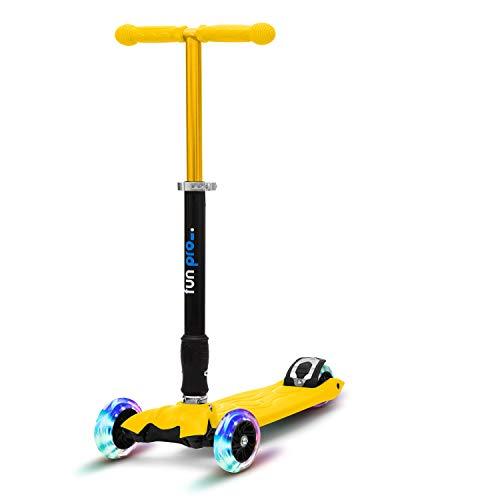fun pro Two, ab Vorschulalter, bis 80KG Gewicht, der sichere Premium Kinder Roller (Tretroller, Kickboard, Scooter, Kickscooter), LED Räder, faltbar, aus Hamburg mit erweiterter Garantie (Gelb)