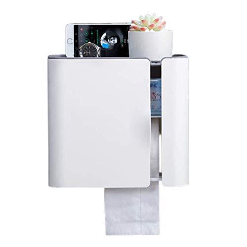 wangYUEQ Soporte de papel higiénico multifunción montado en la pared, sin perforaciones, caja de pañuelos de almacenamiento impermeable para baño, dormitorio y cocina