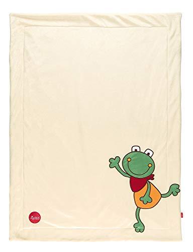 sigikid, 41560 Enfant Mixte Couverture Microfibre 100x75 cm, Grenouille Ecru