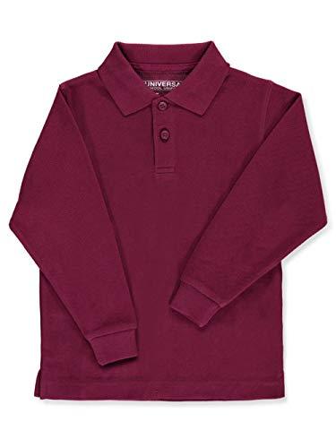 Children's Long Sleeve Pique Polo Shirt - Burgundy, 5