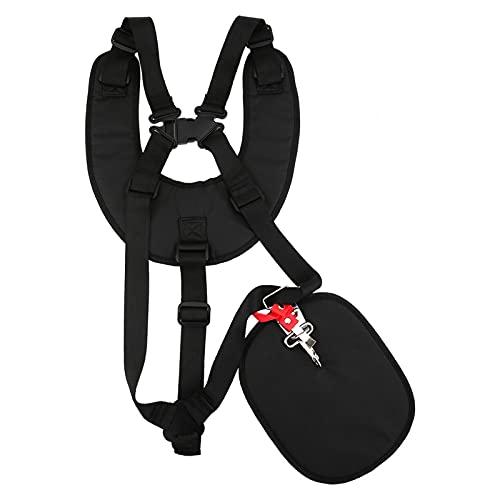 Emoshayoga Arnés de hombro doble para cortacésped arnés plástico y tela Material profesional adecuado para cortadora de césped negro