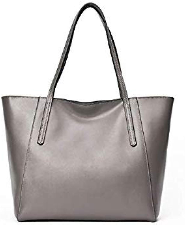 Bloomerang DIENQI High Quality Women Genuine Leather Handbag Female Large Shoulder Bags Totes Ladies Handbags Black Top-Handle Bags color Grey