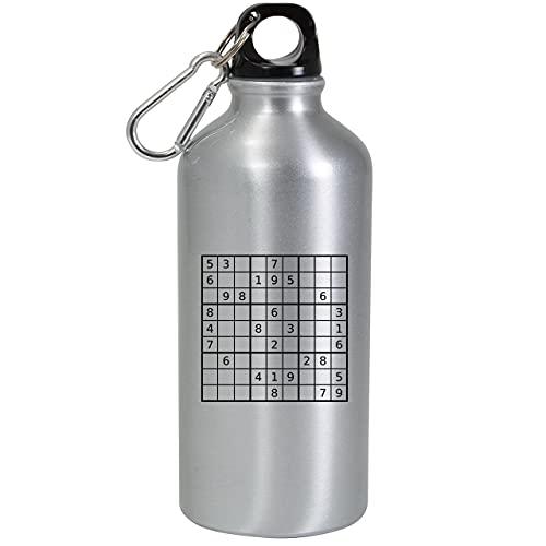 Sudoku Classic Game Board - Botella de agua (aluminio, reutilizable, 600 ml), color plateado