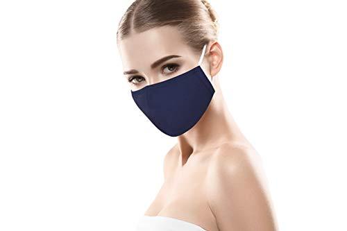MBW Mund- & Nasenmaske in blau Schutzmaske Mundschutz Maske 3-lagig Wiederverwendbare Masken 100{9777c348446a2eba033ba3f3a845ffb4289f63b780d6488582b264a1cf570207} Baumwolle