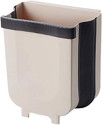 壁掛け式 折りたたみ ゴミ箱 キッチン ぶら下げ キッチンゴミ箱 ゴミ袋ホルダー付き キッチンキャビネットのドアに つり下げ 浴室 壁掛け [ベージュ]