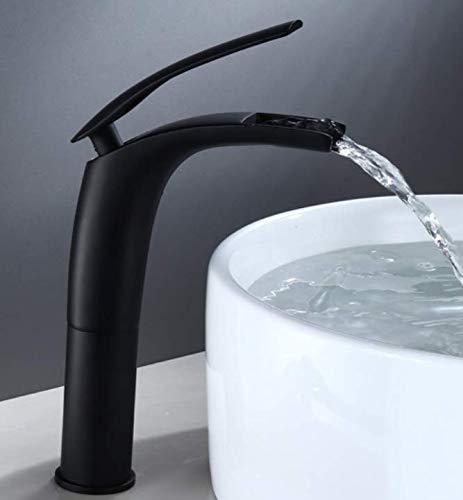 Waterkraan voor wastafel met waterval, compleet met koper, bovenste teller voor wastafels, badkamer, wastafel, onderkast, waterkraan, Nordic, zwarte kleur, één gat