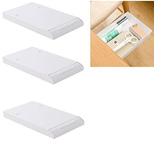 Cassettiera invisibile, cassetto da tavolo, cassetto nascosto, cassetto portaoggetti per cancelleria, cassetto autoadesivo per la scuola (3 pz+bianco+piccolo)