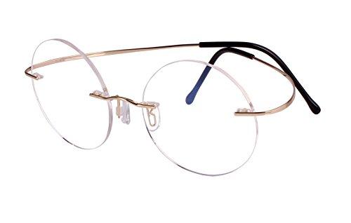 Agstum Pure Titanium Round Eyeglasses Rimless Flexible Glasses Frame 46mm